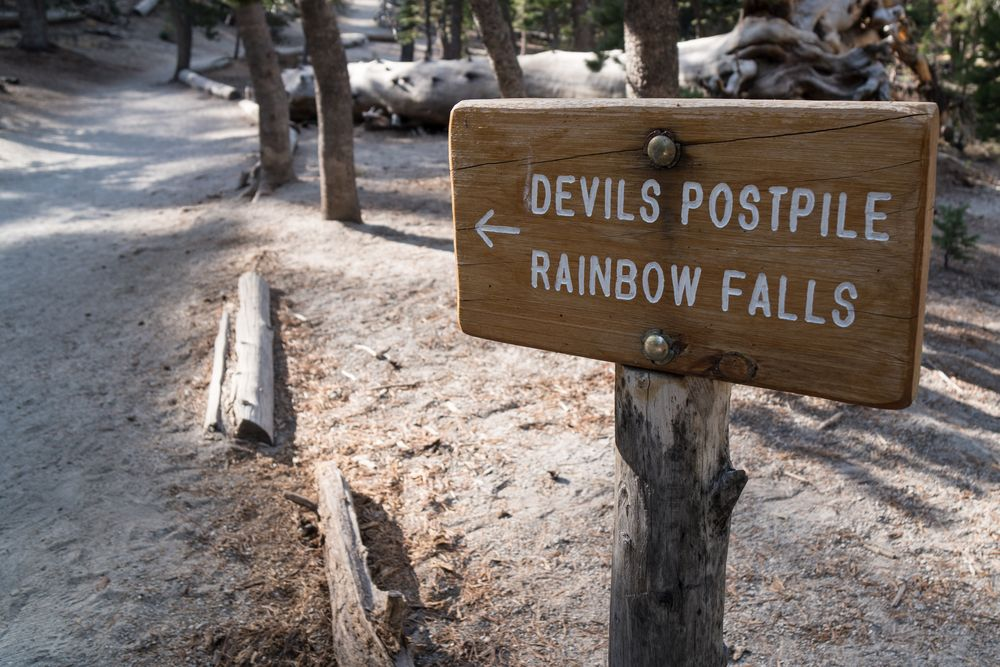 A Sign in Rainbow Falls in Mammoth Lake