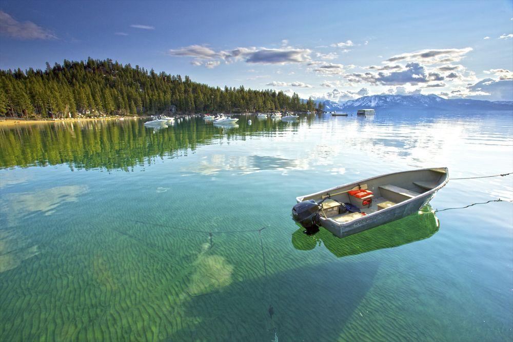 Fishing boat in lake Tahoe,