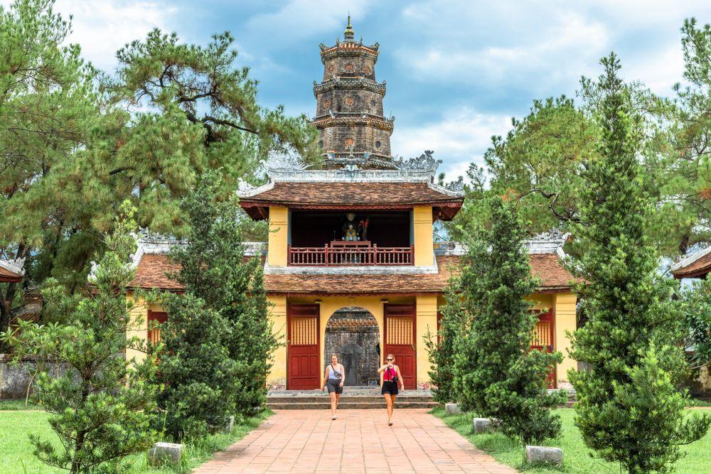 View of the Majestic Thien Mu Pagoda
