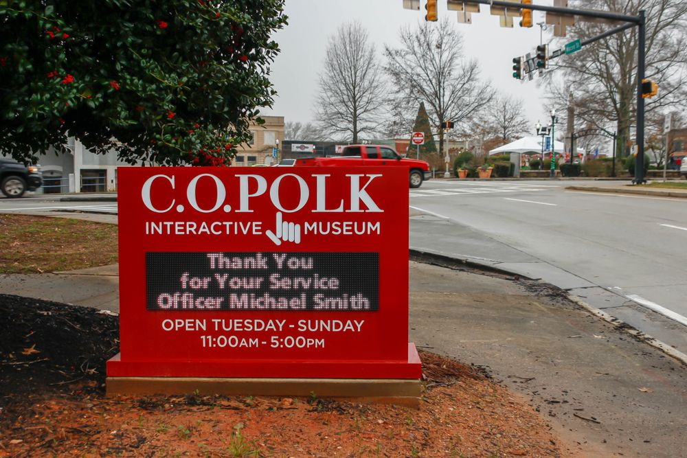 View of a Sign in C.O. Polk Interactive Museum