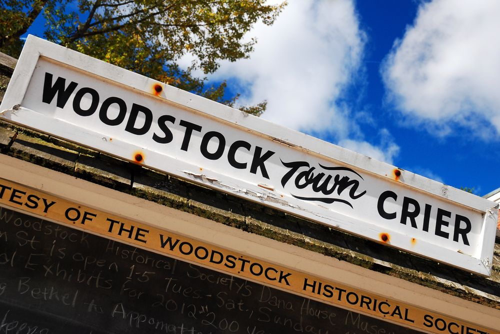 Sign of Woodstock Town Crier