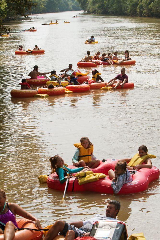 People in Chattahoochee River