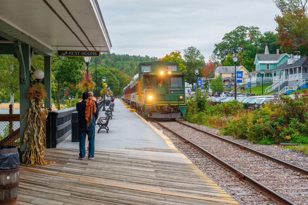 A Train in Winnipesaukee Scenic Railroad