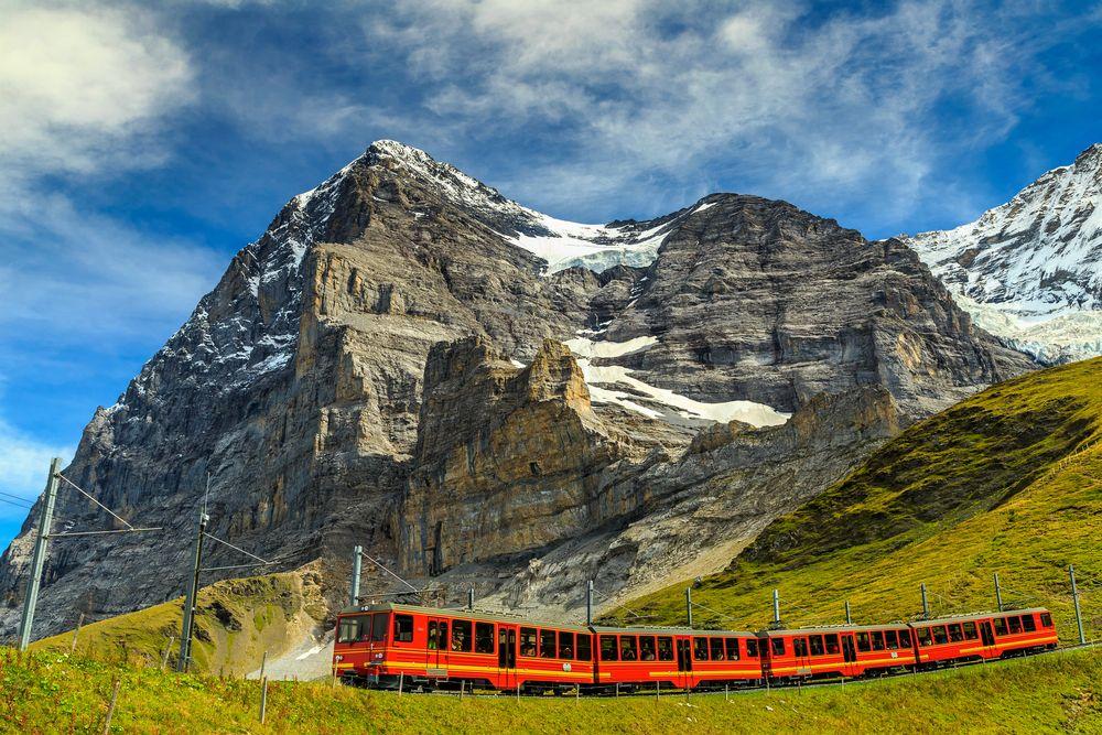 Modern Red Train in Switzerland