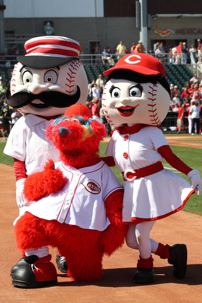 Mister Red, Rosie Red and Gapper in Goodyear Ballpark